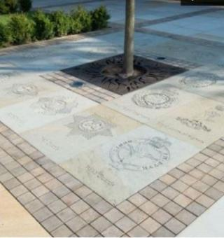 paving stone recently laid in Hero's Square at the National Memorial Arboretum.