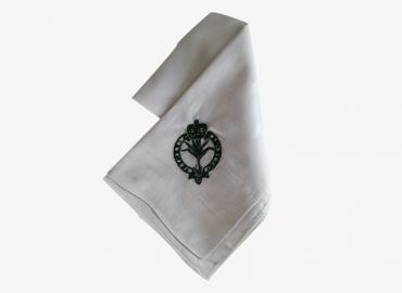 Handkerchief, White with green crest